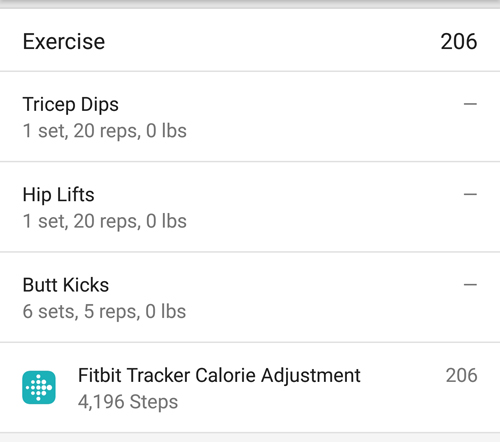 Tracking Exercise Goals in MyFitnessPal