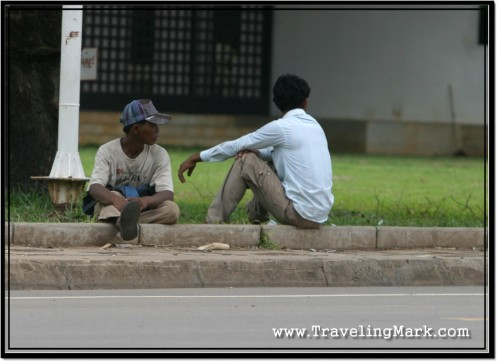 Photo: Common Picture in Cambodia - Instead of Being at Work, Lazy Locals Just Sit Around