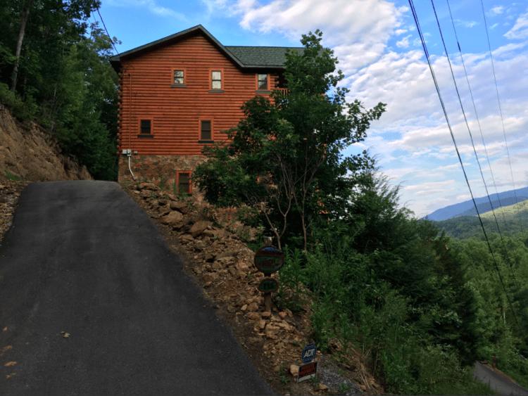 Our three-story cabin near Gatlinburg, Tennessee. Photo by Heidi Gollub, Big Family TravelingMom.