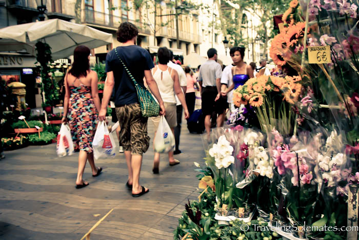 Flower stall in Las Ramblas, Barcelona, Spain