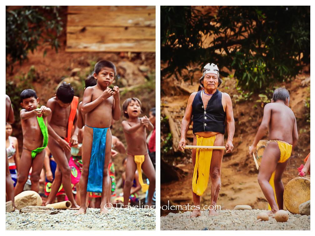 Children and Elder in Embera Drua Village, Panama