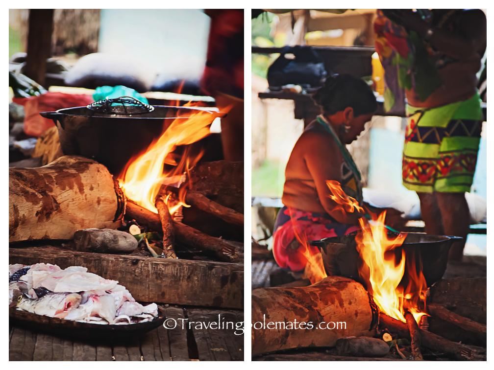 Embera Woman cooking, Embera Village, Upper Charges, Panama