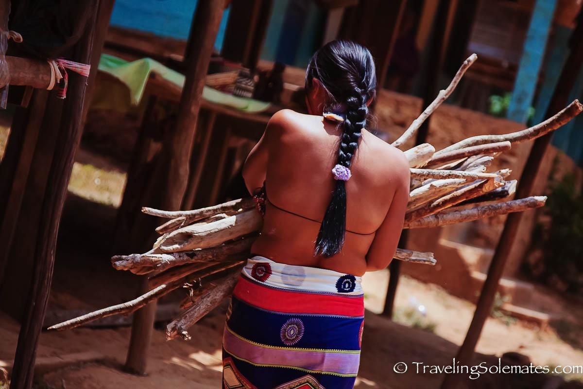 Embera woman gathering woods, Embera Village, Panama