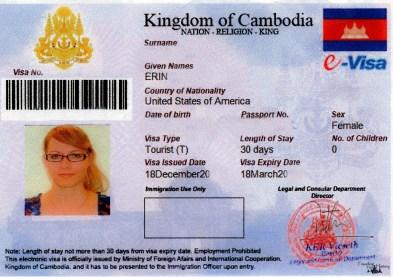 Erin's Cambodia Visa