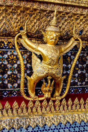 One of the many Garuda that line Phra Mondop. In Thai mythology, the Garuda is known as the King of Birds. This Garuda is in the act of tearing a Naga in two, an act that symbolizes the Thai monarchy.