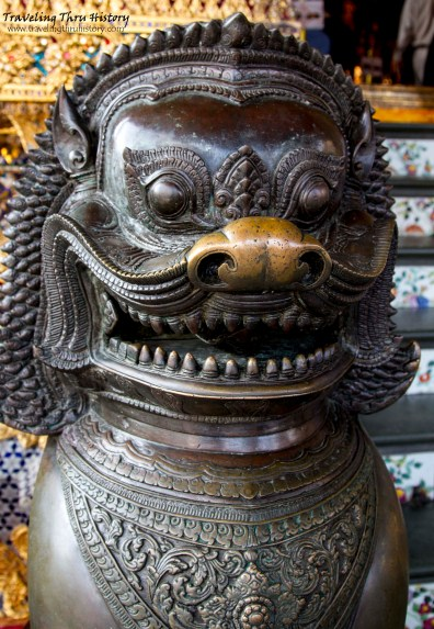 Chinese lion guardian outside the Temple of the Emerald Buddha
