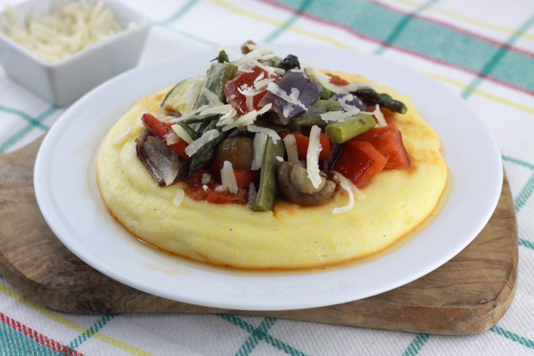 Goat Cheese Polenta with Roasted Veggies