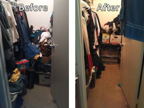 A before and after picture after the first challenge. More room to walk in the closet.