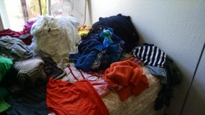 My piles of clothing. From round one on the capsule wardrobe challenge