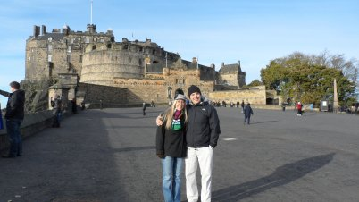 Outside Edinburgh Castle.