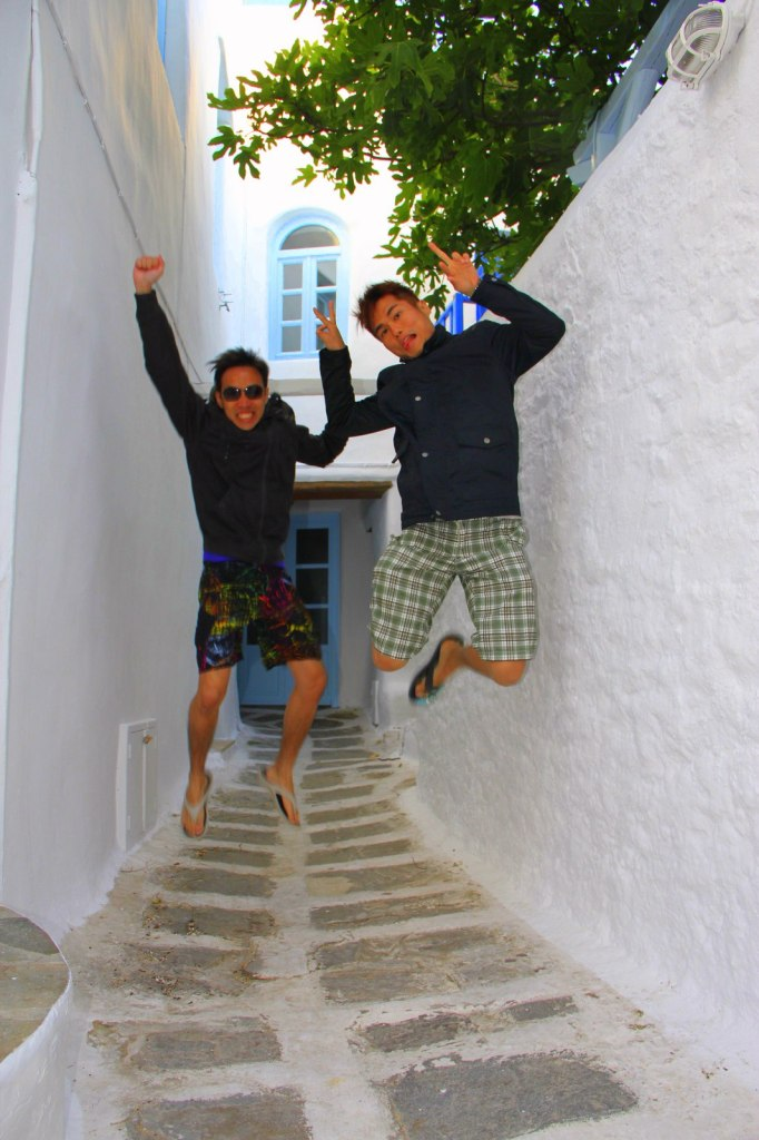 Brothers Jump at Mykonos, Greece