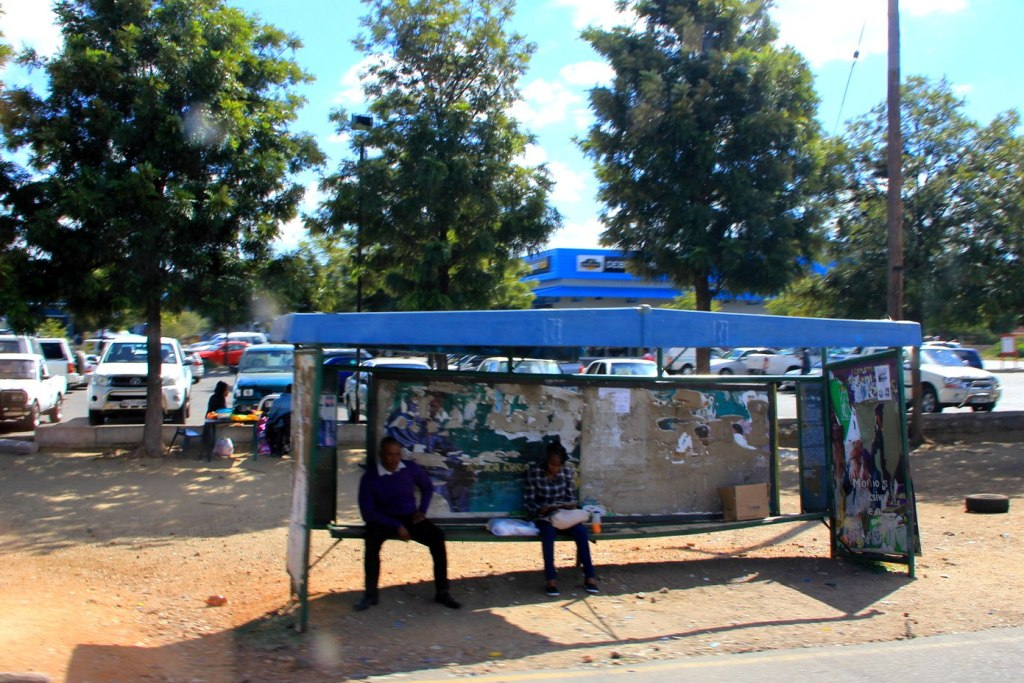 A bus stop in Botswana
