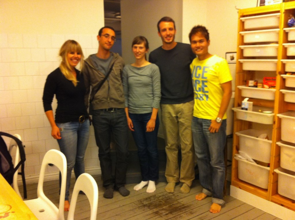 With Skye (Irish), Khalid (French), Colleen, Jason (American) at Sweden Backpacker Hostel