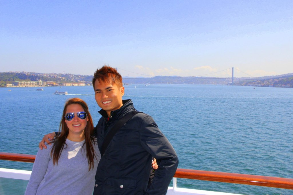 With Grace (British) in Istanbul, Turkey (When East Meet West) Asia Continent on my side and Europe Continent at Grace's side