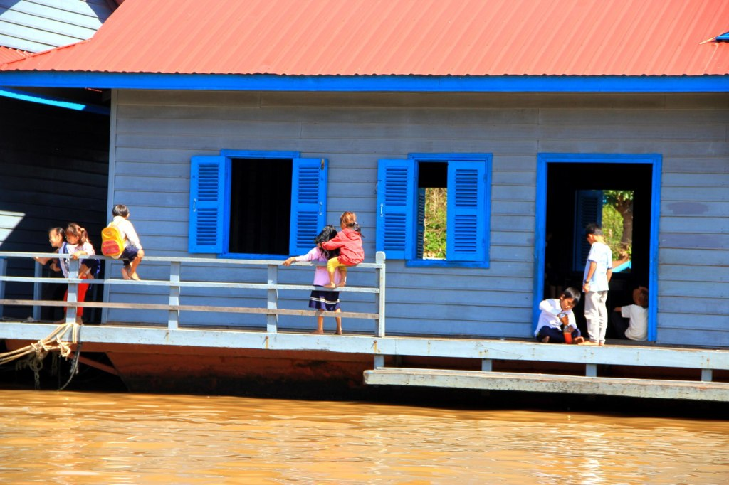 Little kids at the floating orphanage