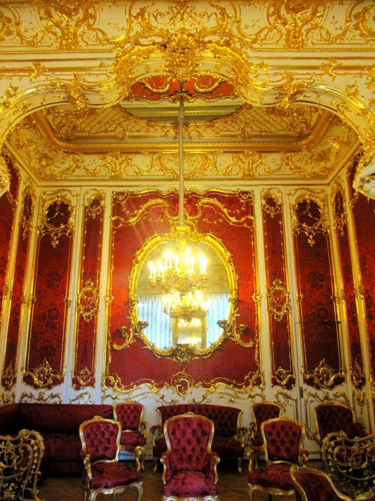Decorations of Crimson Room in Hermitage Museum