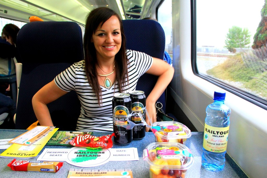 Jaime is happy with her massive dinner spree on the train