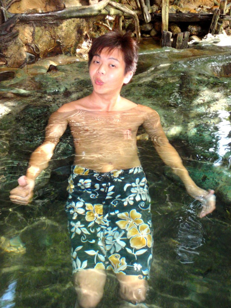 Melano relaxing in the tub filled with natural hot spring water