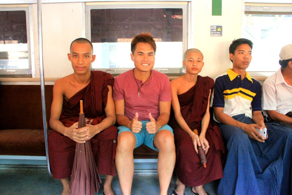 With the friendly Burmese Monk