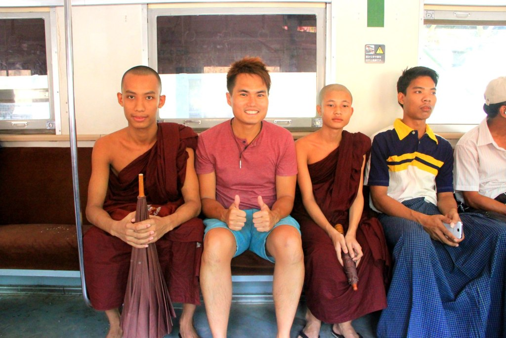 Interacting with the Burmese monk