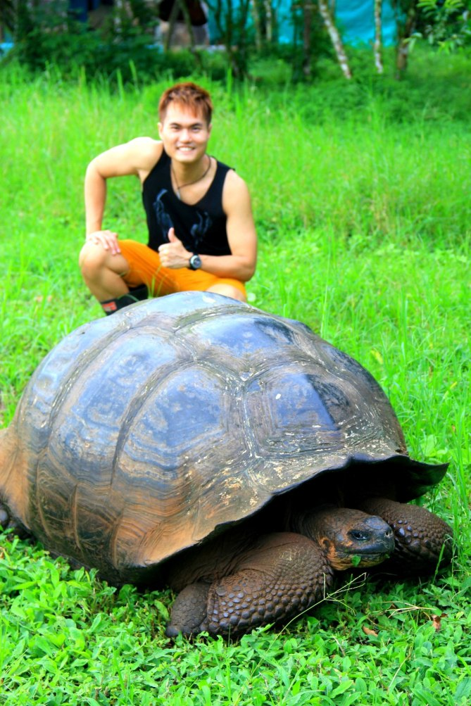 With the legendary giant tortoise in Galapagos