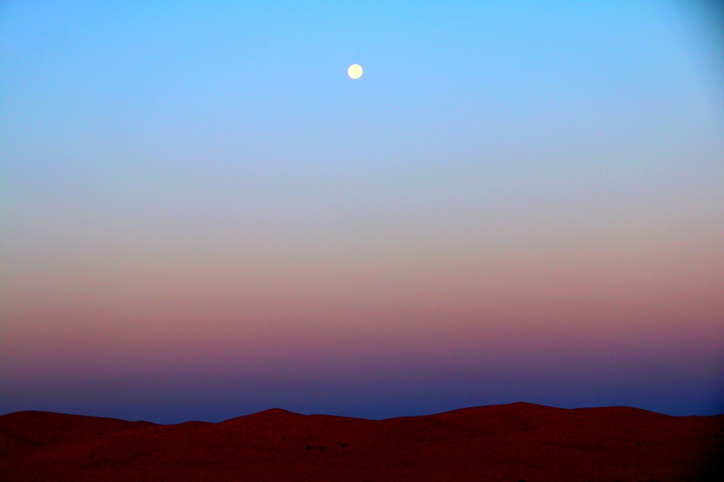 The moonrise at the Great Sahara Desert! :-)