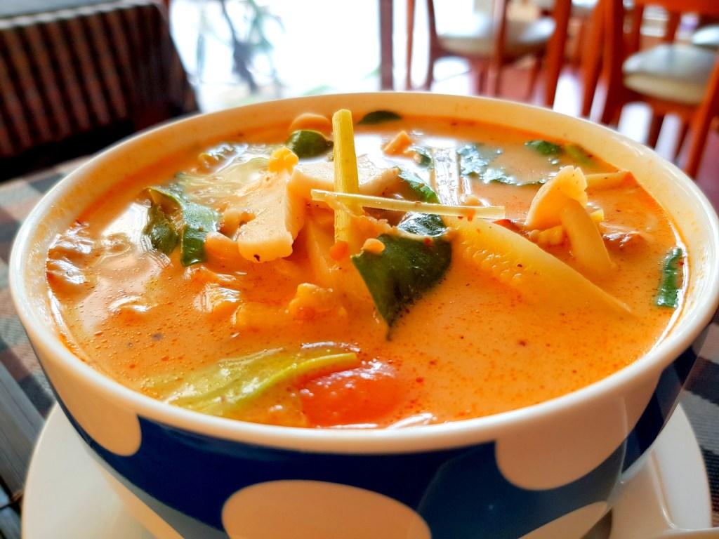 Vegetarian Thai Tomyam Mushroom in Rice Milk