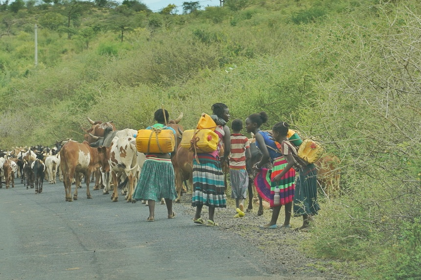 Ethiopian tribe women fetching water