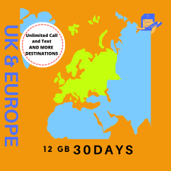 UK and Europe Travel Sim Card | 30 Days | 12GB | Unlimited Calls & Text | 71 Destinations
