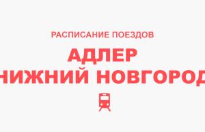 Расписание поездов Адлер - Нижний Новгород