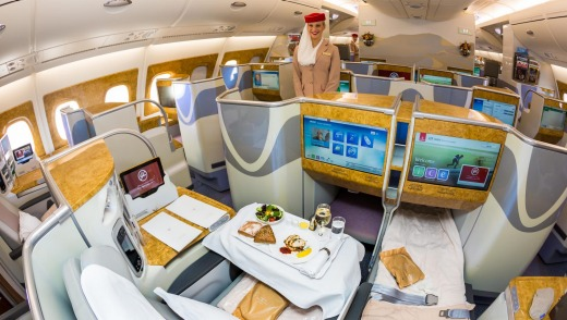 Emirates Airbus A380 business class.