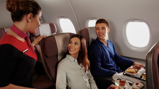 On board the Qantas A380 in premium economy. It's a substantial step up from economy.