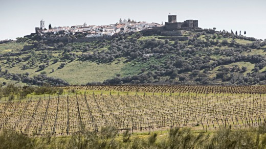 Views across Alentejo's vineyards to the fort town of Monsaraz.