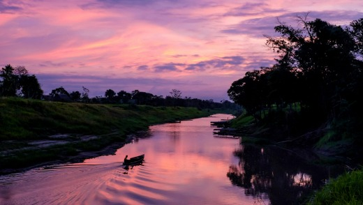 Sunrise in the Peruvian Amazon.