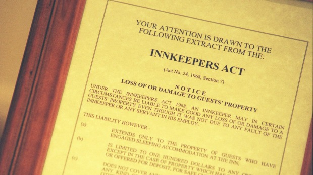 In NSW, the Innkeepers Act  limits liability to a maximum of $100 per person.