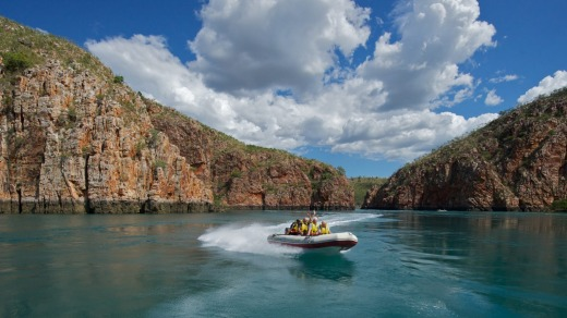 Expedition tenders take cruise guests on a river trip in the Kimberley.