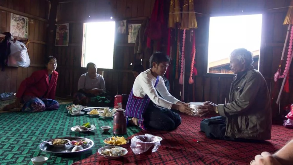 Myanmar families given offerings for Novitiation ceremony