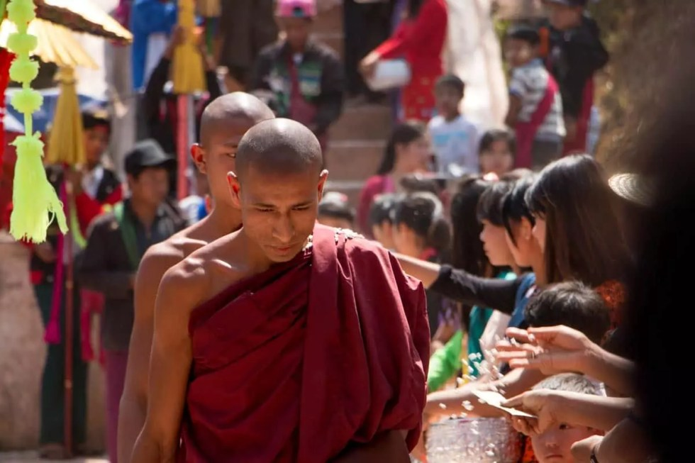 Older monk at Alms Ceremony, Myanmar