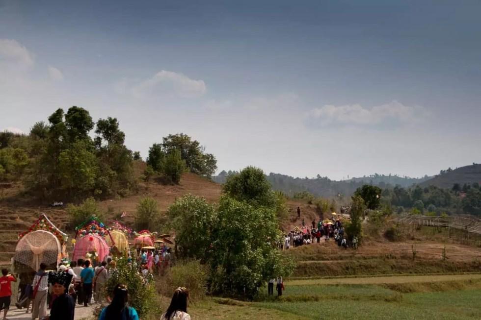 Procession outside the village, Tongla, Myanmar