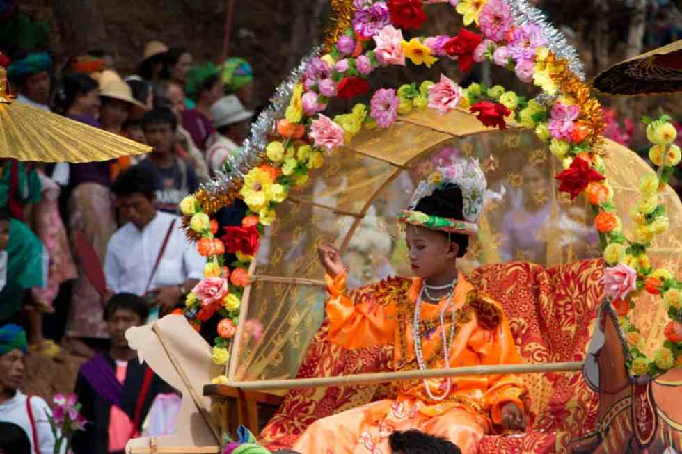Boys on Pandal during procession , Myanmar