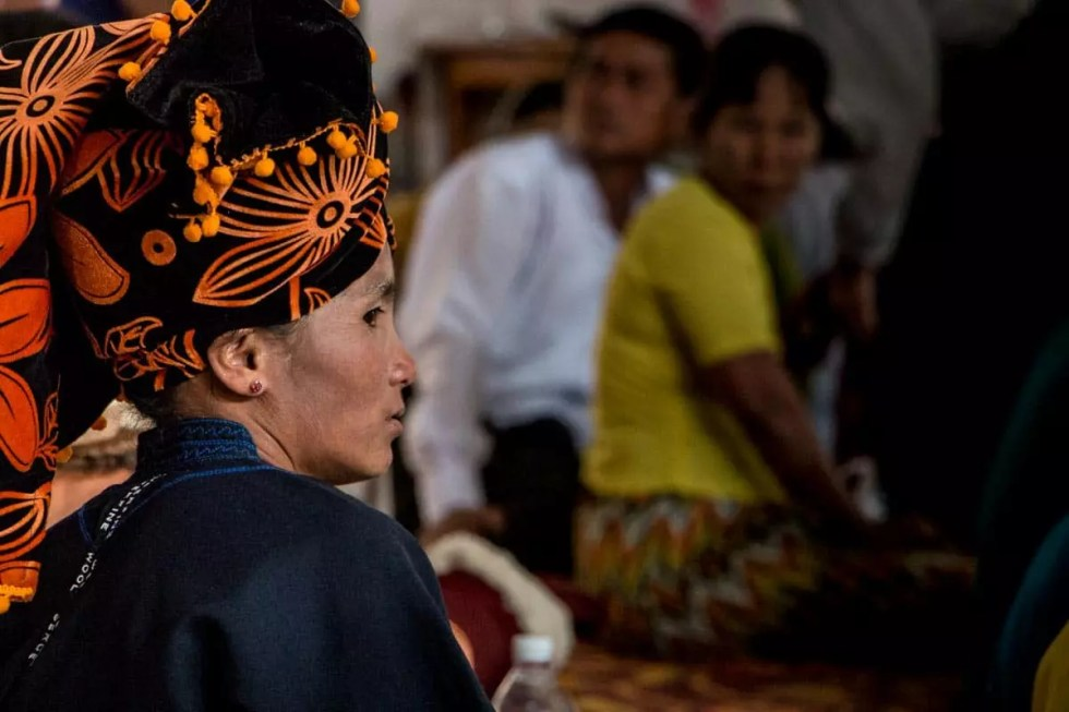 Woman at temple ceremony, Myanmar