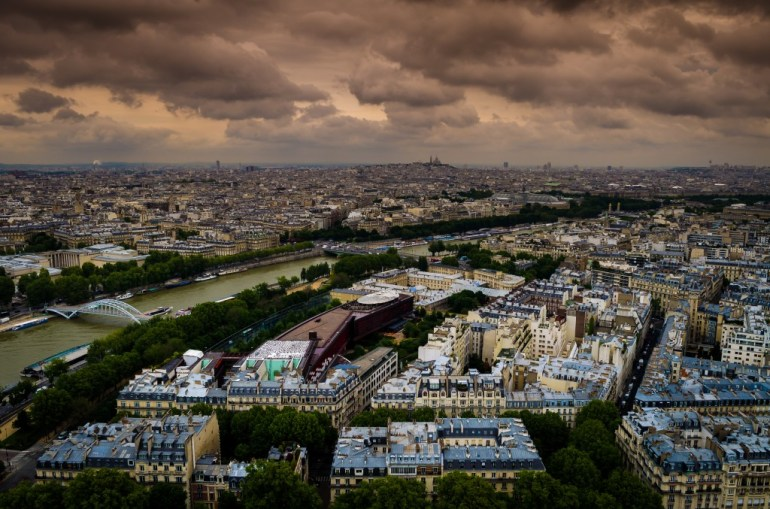 View from the top of the Eiffel Tower looking out over Paris France
