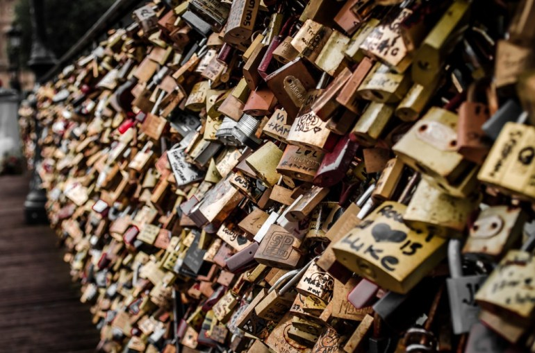 The Love Locks on Pont des Arts, Paris, France