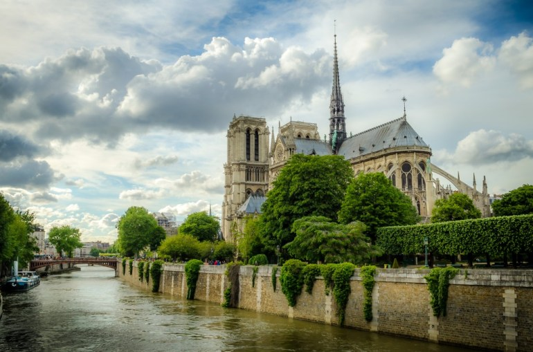 A view of Notre Dame Cathedral from the River Seine