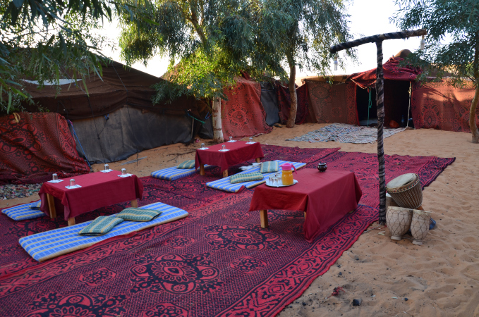 Desert camp in Erg Chebbi, Sahara first thing in the morning