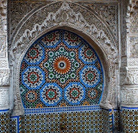Intricately decorated water fountain, Fes Morocco