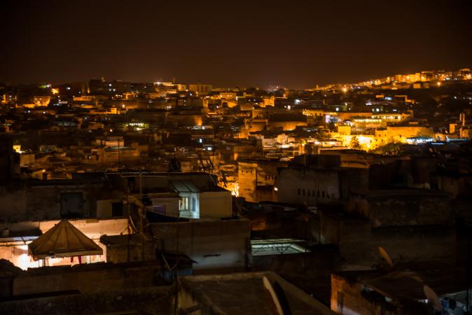 View of Fes medina at night