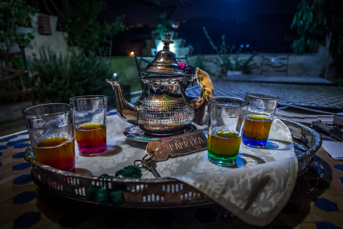 Mint Tea at the Riad Laayoun after dinner Fes, Morocco