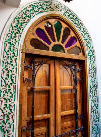 Beautiful doorways at Riad Laayoun, Fes, Morocc