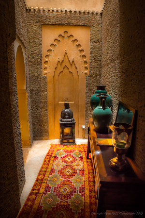 Welcoming hallway at Riad Camilia, Marrakech, Morocco